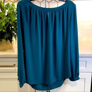 Loft teal boatneck blouse with button neck & cuffs